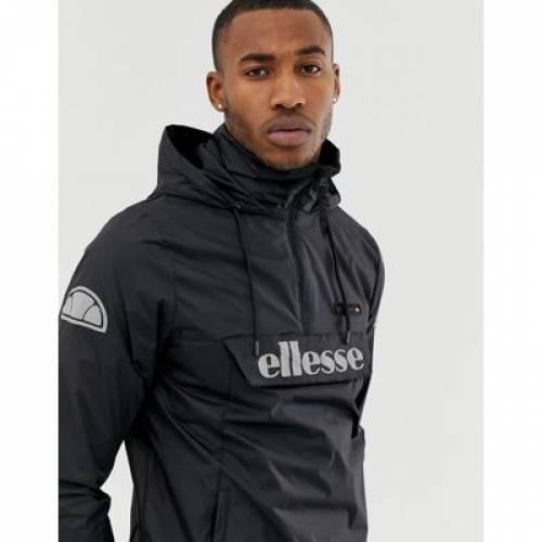 ロゴ 黒 ブラック メンズファッション コート ジャケット 【 BLACK ELLESSE ION OVERHEAD JACKET WITH REFLECTIVE LOGO IN 】