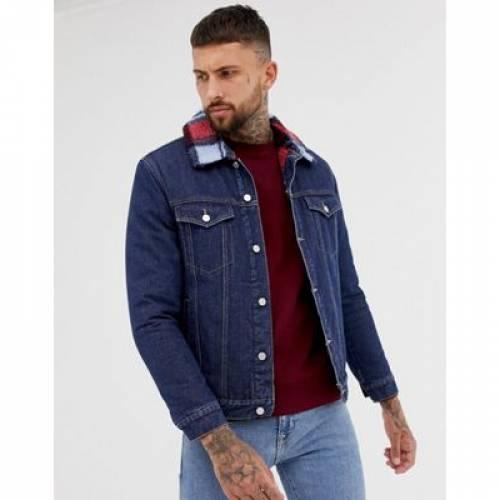 デニム 青 ブルー メンズファッション コート ジャケット 【 BLUE BOOHOOMAN CHECKED BORG LINED DENIM JACKET IN 】