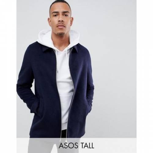 紺 ネイビー メンズファッション コート ジャケット 【 NAVY ASOS DESIGN TALL WOOL MIX ZIP THROUGH JACKET IN 】