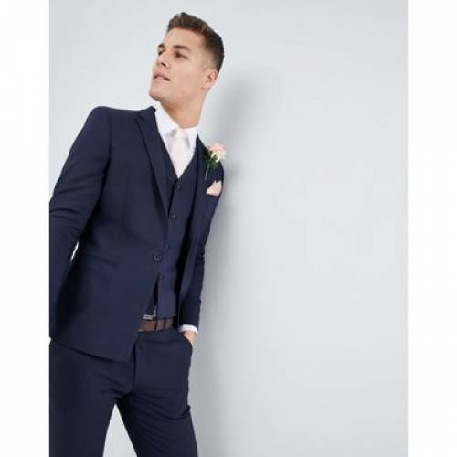 紺 ネイビー メンズファッション コート ジャケット 【 NAVY ASOS DESIGN WEDDING SKINNY SUIT JACKET WITH SQUARE HEM IN 】 ※セットアップではありません