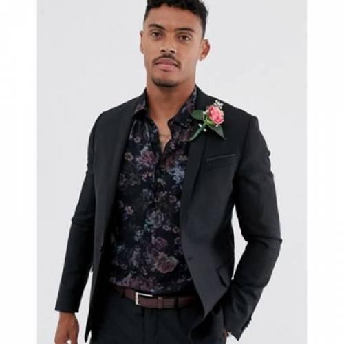 黒 ブラック 100% メンズファッション コート ジャケット 【 BLACK ASOS DESIGN WEDDING SKINNY SUIT JACKET IN WOOL 】 ※セットアップではありません