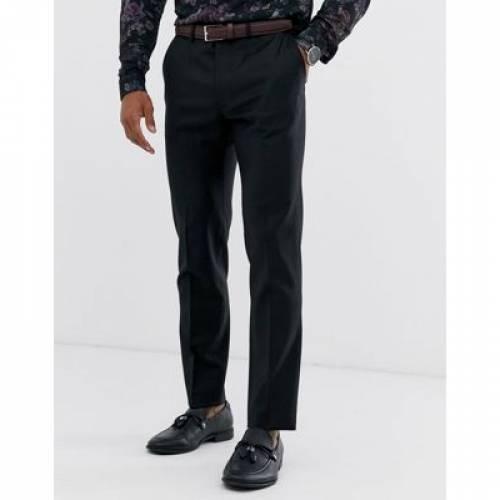 黒 ブラック 100% メンズファッション ズボン パンツ 【 BLACK ASOS DESIGN WEDDING SKINNY SUIT TROUSER IN WOOL 】