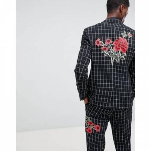 【海外限定】黒 ブラック 白 ホワイト メンズファッション コート ジャケット 【 BLACK WHITE ASOS DESIGN SKINNY SUIT JACKET IN AND CHECK WITH EMBROIDERY 】 ※セットアップではありません