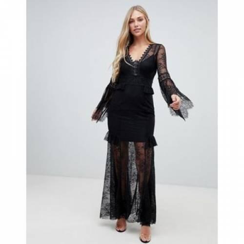 スリーブ ドレス 黒 ブラック レディースファッション ワンピース 【 SLEEVE BLACK FOREVER NEW LACE MAXI DRESS IN 】
