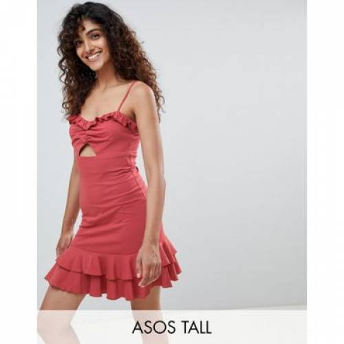 レディースファッション ワンピース 【 ASOS DESIGN TALL CUT OUT SUNDRESS WITH PEP HEM 】