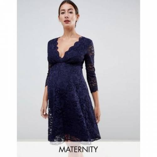 ドレス スリーブ 紺 ネイビー キッズ ベビー マタニティ ママ マタニティウエア 授乳服 【 SLEEVE NAVY FLOUNCE LONDON MATERNITY LACE PROM DRESS WITH 3 4 IN 】
