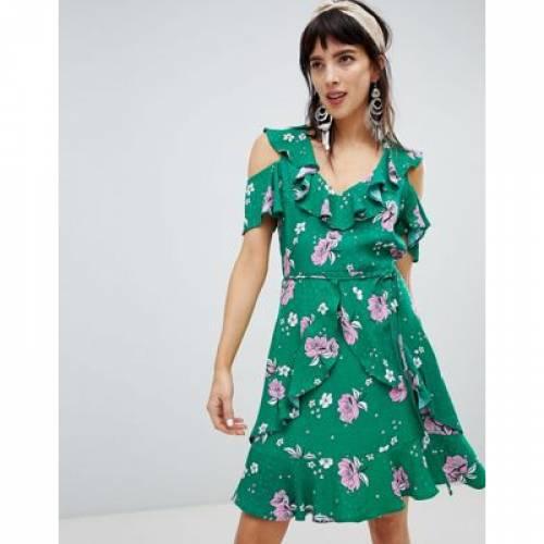 ドレス レディースファッション ワンピース 【 RIVER ISLAND DRESS WITH FRILL FRONT IN FLORAL PRINT 】