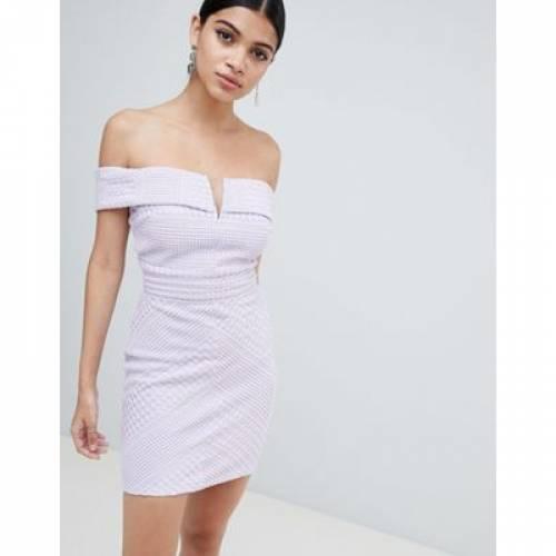 ドレス レディースファッション ワンピース 【 MISSGUIDED BARDOT V NECK BODYCON MINI DRESS 】