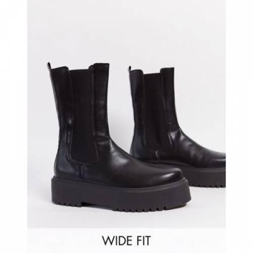その他ファッションブランド 安値 カジュアル ファッション シューズ ブーツ 黒色 ブラック ワイドフィット BLACK 付与 ASOS DESIGN IN ALANA CHUNKY チェルシーブーツS