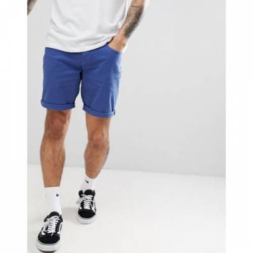 デニム ショーツ ハーフパンツ スリム 青 ブルー メンズファッション ズボン パンツ 【 SLIM BLUE ASOS DESIGN DENIM SHORTS IN FRENCH 】