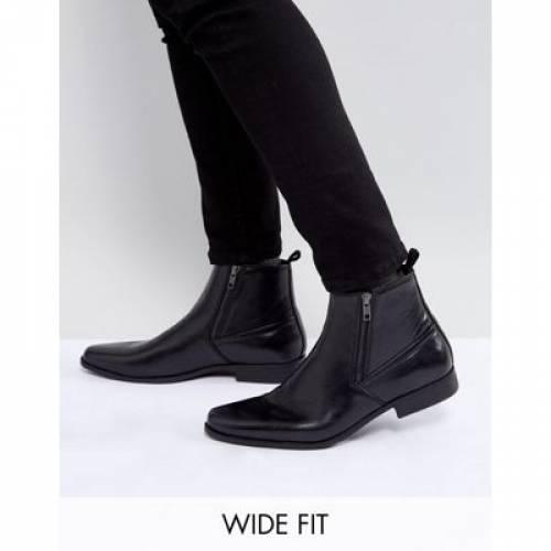 黒 ブラック レザー メンズ ブーツ 【 BLACK ASOS WIDE FIT CHELSEA BOOTS IN FAUX LEATHER WITH ZIPS 】
