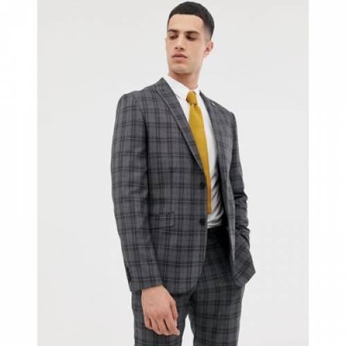 スリム GRAY灰色 グレイ メンズファッション コート ジャケット 【 SLIM GREY FARAH FIT CHECK SUIT JACKET IN 】 ※セットアップではありません