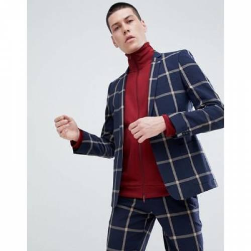 紺 ネイビー メンズファッション コート ジャケット 【 NAVY ASOS DESIGN SKINNY SUIT JACKET IN SEERSUCKER WINDOWPANE CHECK 】 ※セットアップではありません