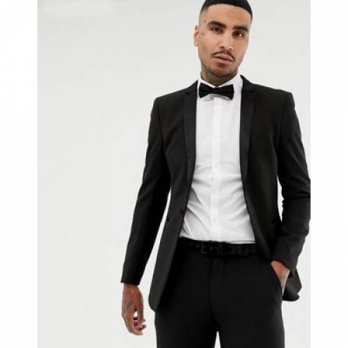 黒 ブラック メンズファッション コート ジャケット 【 BLACK ASOS DESIGN SUPER SKINNY TUXEDO SUIT JACKET IN 】 ※セットアップではありません