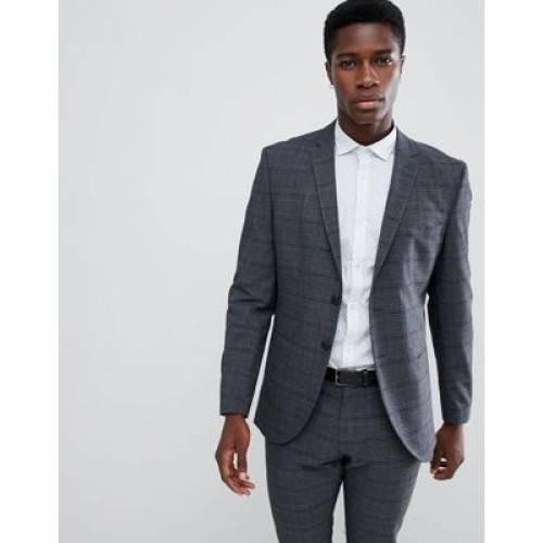 スリム GRAY灰色 グレイ メンズファッション コート ジャケット 【 SLIM GREY SELECTED HOMME FIT SUIT JACKET IN CHECK 】 ※セットアップではありません