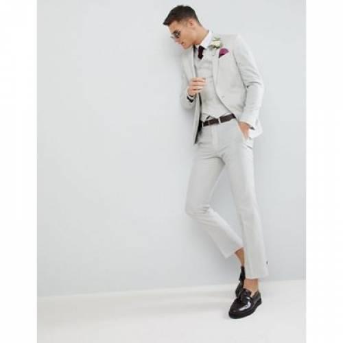 スリム GRAY灰色 グレイ 100% メンズファッション スーツ セットアップ 【 SLIM GREY ASOS DESIGN WEDDING SUIT JACKET IN ICE WOOL 】 ※セットアップではありません