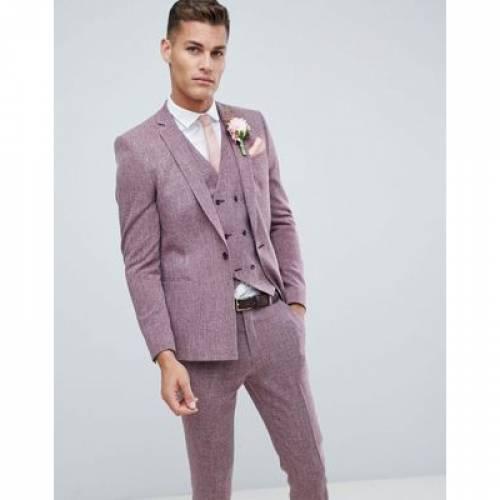 メンズファッション コート ジャケット 【 ASOS DESIGN WEDDING SKINNY SUIT JACKET IN DARK WINE CROSS HATCH WITH PRINTED LINING 】 ※セットアップではありません