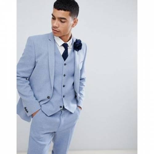 青 ブルー メンズファッション コート ジャケット 【 BLUE ASOS DESIGN WEDDING SKINNY SUIT JACKET IN LIGHT HERRINGBONE 】 ※セットアップではありません