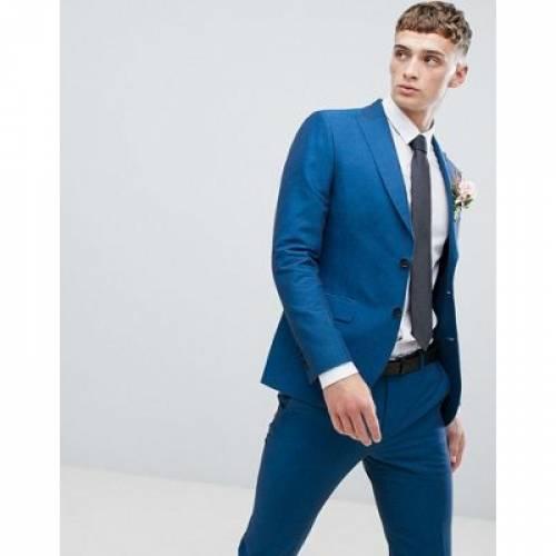 青 ブルー メンズファッション コート ジャケット 【 BLUE MOSS LONDON SKINNY SUIT JACKET IN LINEN 】 ※セットアップではありません