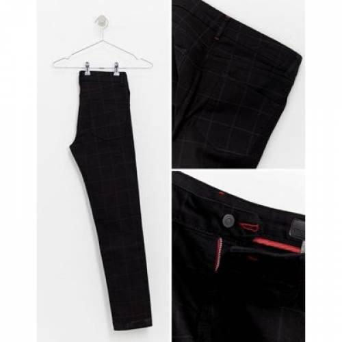 黒 ブラック メンズファッション ズボン パンツ 【 BLACK ASOS DESIGN SMART SKINNY JEANS IN CHECK 】