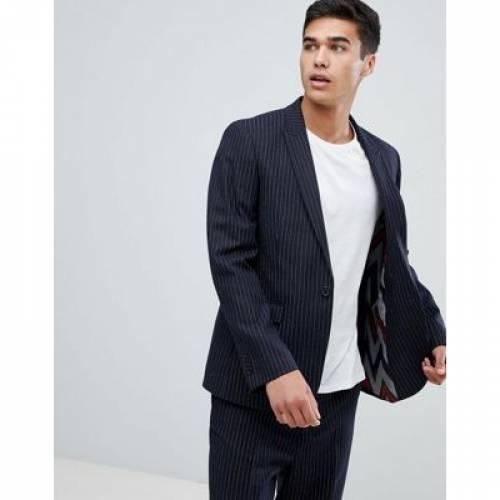 スリム 紺 ネイビー メンズファッション コート ジャケット 【 SLIM NAVY ASOS DESIGN SUIT JACKET IN WOOL BLEND PINSTRIPE 】 ※セットアップではありません