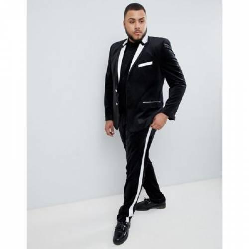 黒 ブラック メンズファッション ズボン パンツ 【 BLACK ASOS DESIGN PLUS SKINNY TUXEDO SUIT TROUSERS IN 】