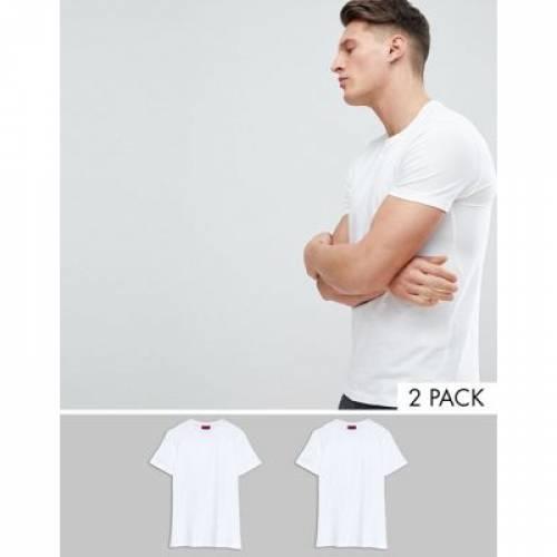 白 ホワイト メンズファッション トップス Tシャツ カットソー 【 WHITE HUGO ROUND NECK 2 PACK TSHIRTS IN 】