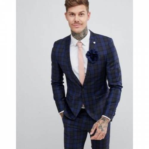 青 ブルー メンズファッション コート ジャケット 【 BLUE TWISTED TAILOR SUPER SKINNY SUIT JACKET IN CHECK 】 ※セットアップではありません