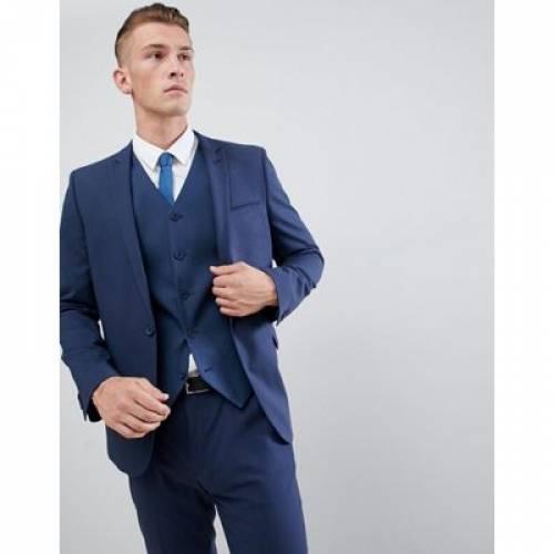 ミッド 青 ブルー メンズファッション コート ジャケット 【 BLUE ASOS DESIGN SKINNY SUIT JACKET IN MID 】 ※セットアップではありません