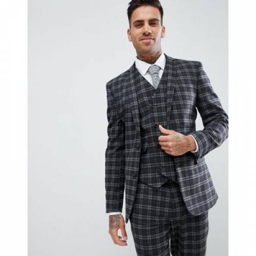 GRAY灰色 グレイ メンズファッション コート ジャケット 【 GREY ASOS DESIGN SUPER SKINNY SUIT JACKET IN TONAL CHECK 】 ※セットアップではありません