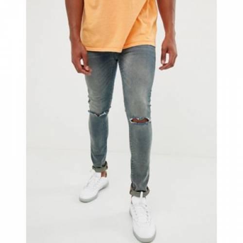 青 ブルー 12.5OZ メンズファッション ズボン パンツ 【 BLUE ASOS DESIGN SUPER SKINNY JEANS IN TINTED 】