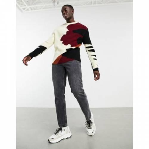 その他ファッションブランド カジュアル ファッション そのた スリーブ メンズファッション トップス SLEEVE ASOS AND ABSTRACT DESIGN 完全送料無料 WITH PATTERN 贈与 JUMPER RIBBED CONTRAST