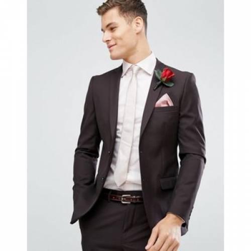ワイン色 バーガンディー メンズファッション スーツ セットアップ 【 FRENCH CONNECTION SKINNY WEDDING SUIT JACKET IN DARK BURGUNDY 】 ※セットアップではありません