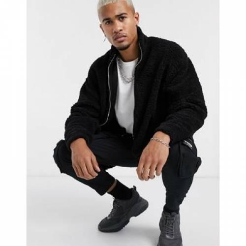 トラック 黒 ブラック メンズファッション コート ジャケット 【 BLACK ASOS DESIGN OVERSIZED TRACK TOP IN TEDDY BORG 】