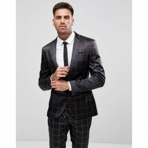 メンズファッション スーツ セットアップ 【 ASOS SUPER SKINNY SUIT JACKET IN PRINTED SLOGAN CHECK 】 ※セットアップではありません