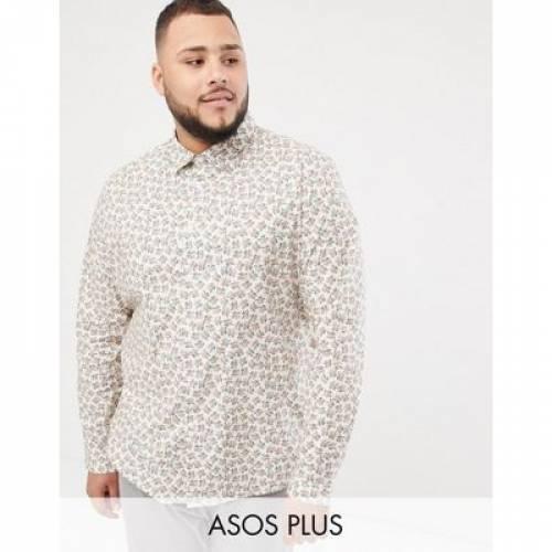 【海外限定】スリム メンズファッション トップス カジュアルシャツ 【 SLIM ASOS DESIGN PLUS SMART STRETCH FLORAL DITSY SHIRT 】