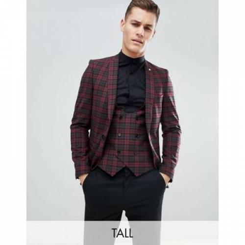 モンキー & メンズファッション コート ジャケット 【 NOOSE MONKEY TALL SUPER SKINNY SUIT JACKET IN TARTAN CHECK 】 ※セットアップではありません