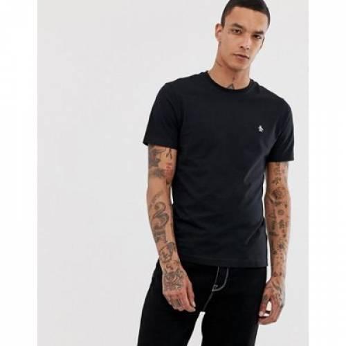 ロゴ Tシャツ スリム 黒 ブラック メンズファッション トップス カットソー 【 SLIM BLACK ORIGINAL PENGUIN SMALL LOGO TSHIRT FIT IN 】