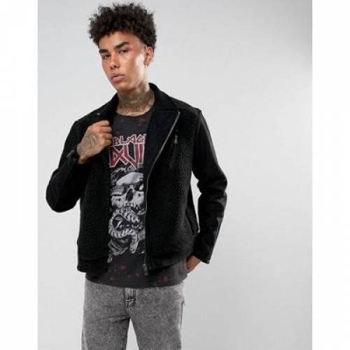 黒 ブラック メンズファッション コート ジャケット 【 BLACK KAVIAR BIKER JACKET IN BORG 】