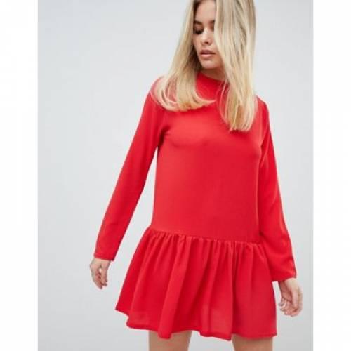 スリーブ ドレス 赤 レッド レディースファッション ワンピース 【 SLEEVE RED PRETTYLITTLETHING LONG FRILL HEM SHIFT DRESS IN 】