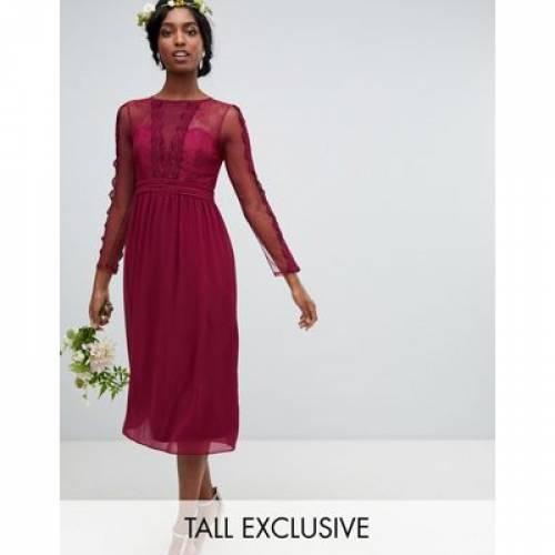 ドレス ワイン色 バーガンディー レディースファッション 【 TFNC TALL LACE DETAIL BRIDESMAID MIDI DRESS IN BURGUNDY 】