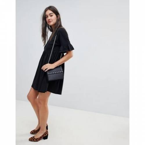 スリーブ ドレス 黒 ブラック レディースファッション ワンピース 【 SLEEVE BLACK ASOS DESIGN COTTON SLUBBY FRILL SMOCK DRESS IN 】