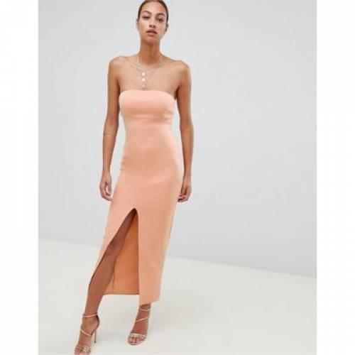 ドレス レディースファッション ワンピース 【 ASOS DESIGN SCUBA BANDEAU MAXI DRESS 】