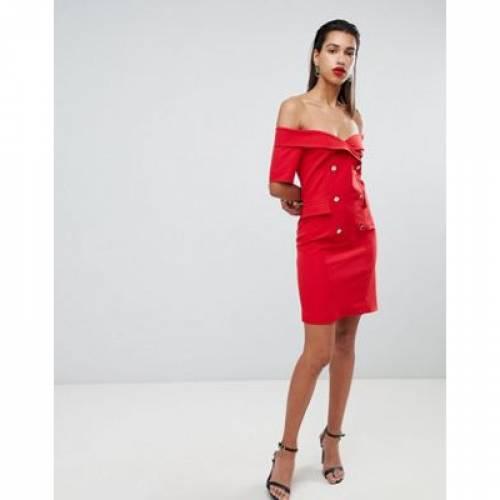 ドレス 赤 レッド レディースファッション ワンピース 【 RED MORGAN OFF SHOULDER TUXEDO DRESS IN 】