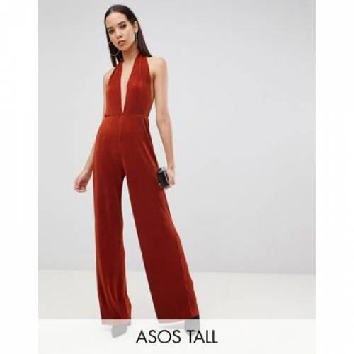 レディースファッション オールインワン サロペット 【 ASOS DESIGN TALL PLUNGE NECK HALTER PLISSE JUMPSUIT 】
