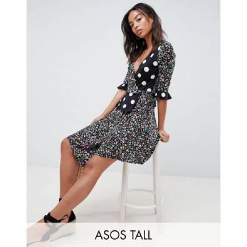 ラップ ドレス レディースファッション ワンピース 【 WRAP ASOS DESIGN TALL DRESS IN MIXED PRINT 】