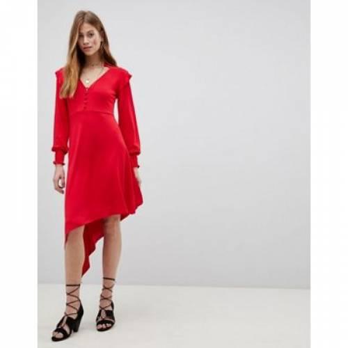 ドレス レディースファッション ワンピース 【 ASOS SHIRRED CUFF BUTTON TEA DRESS WITH ASYMMETRIC HEM 】