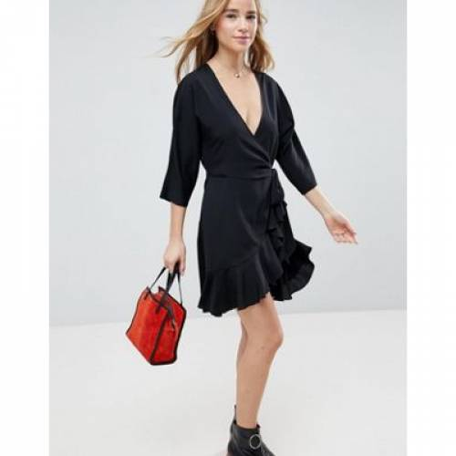 ラップ ドレス レディースファッション ワンピース 【 WRAP ASOS FRONT MINI FRILL DRESS 】