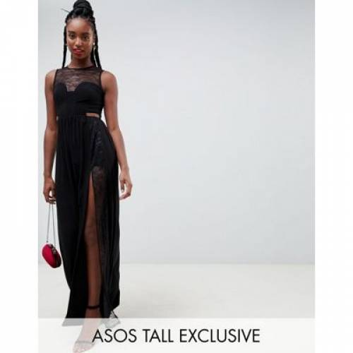 ドレス レディースファッション ワンピース 【 ASOS DESIGN TALL LACE INSERT SLINKY MAXI DRESS 】