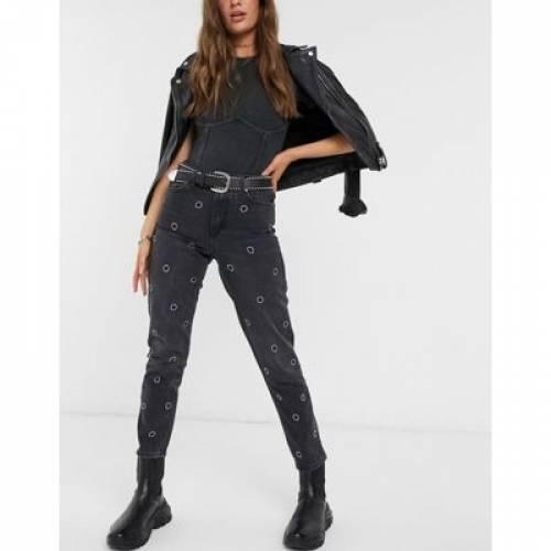 【 レディースファッション ブラック BLACK WASHED パンツ TOPSHOP JEANS IN 】 DETAIL 黒色 ボトムス ジーンズ MOM ALIEN
